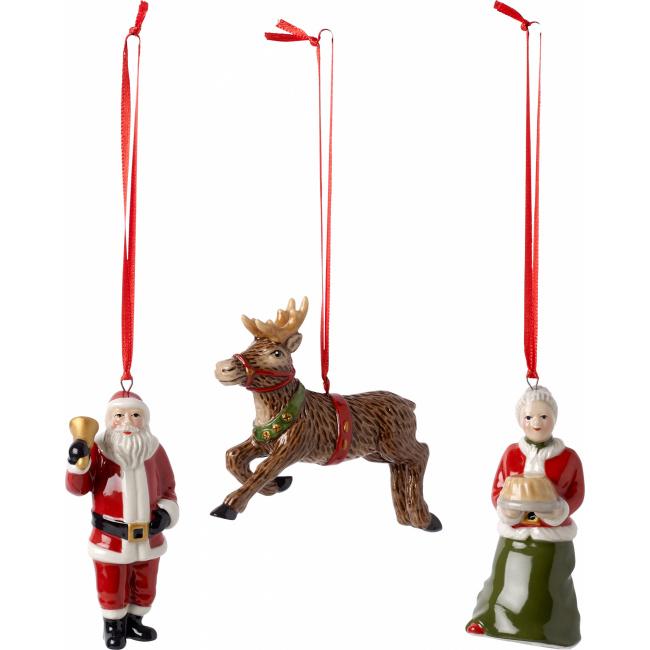 Komplet 3 zawieszek Nostalgic Ornaments 8cm  pomocnicy św.Mikołaja