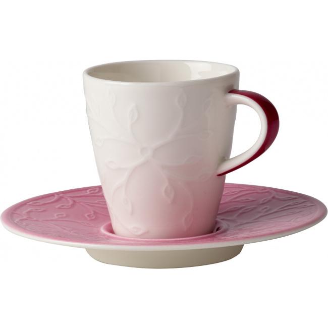 Filiżanka ze spodkiem Caffè Club Floral Touch of Rose 100ml do espresso