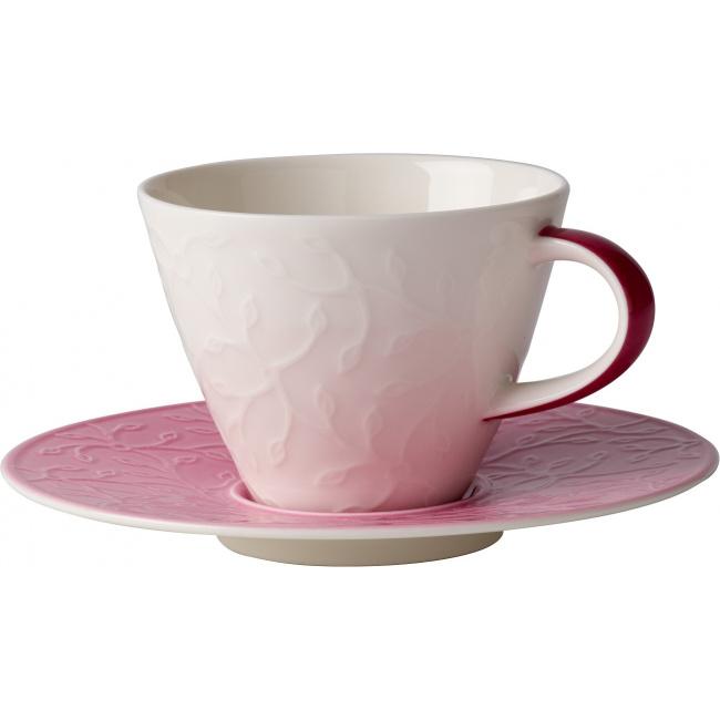 Filiżanka ze spodkiem Caffè Club Floral Touch of Rose 390ml śniadaniowa