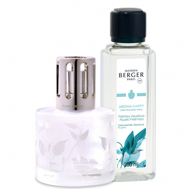 Zestaw lampa zapachowa przezroczysta + olejek zapachowy