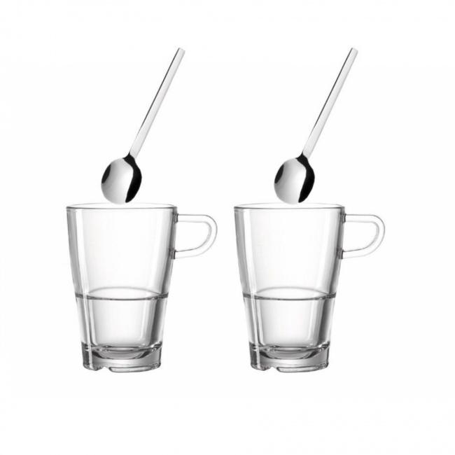 Komplet 2 szklanek Senso 350ml do kawy + łyżeczki