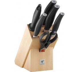 Zestaw 5 noży + ostrzałka + nożyczki w bloku Five Star