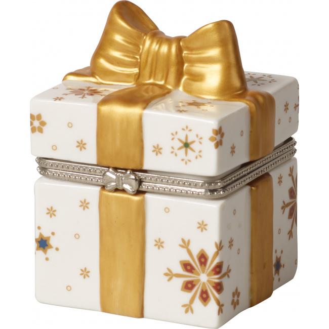 Pudełko ozdobne szkatułka Christmas Toys 9cm prezent złoty