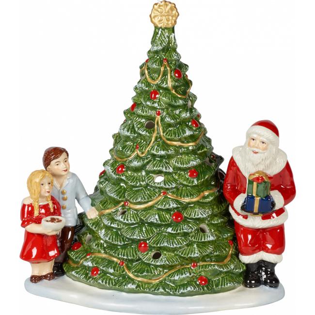 Lampion Św. Mikołaj przy choince Christmas Toys 23x20cm