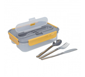 Lunchbox 1l + sztućce grey