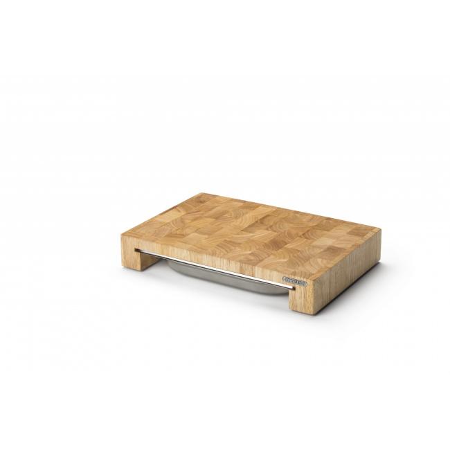Deska z drewna kauczukowego 39x27x6,5cm z wysuwaną tacą