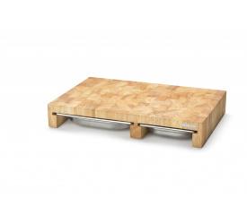 Deska z drewna kauczukowego 50x32x8,5cm z wysuwaną tacą