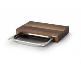 Deska z drewna orzechowego 39x27x6cm z wysuwaną tacą