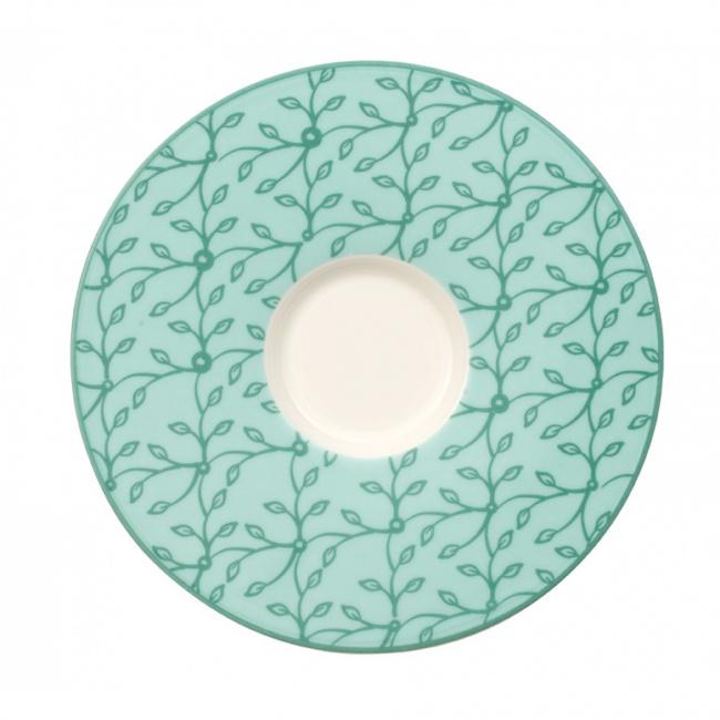 Spodek Caffe Club Floral Peppermint 17cm do filiżanki śniadaniowej