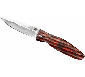 Nóż składany Mcusta Sengoku Red Pakka Damascus