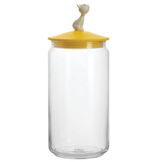 Pojemnik 1,5l na karmę dla kota żółty