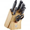 Zestaw 4 noży w bloku Gourmet + ostrzałka + nożyczki