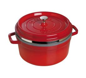 Garnek żeliwny Cocotte 5,2l 26cm czerwony + wkład do gotowania na parze