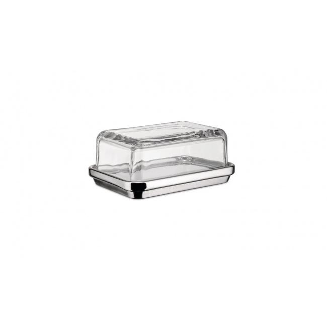Maselniczka stalowa ze szklaną pokrywką