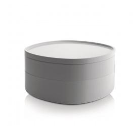 Pojemnik łazienkowy Birillo z przegródkami i pokrywką biały