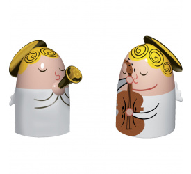 Komplet 2 figurek - aniołki z trąbką i skrzypcami