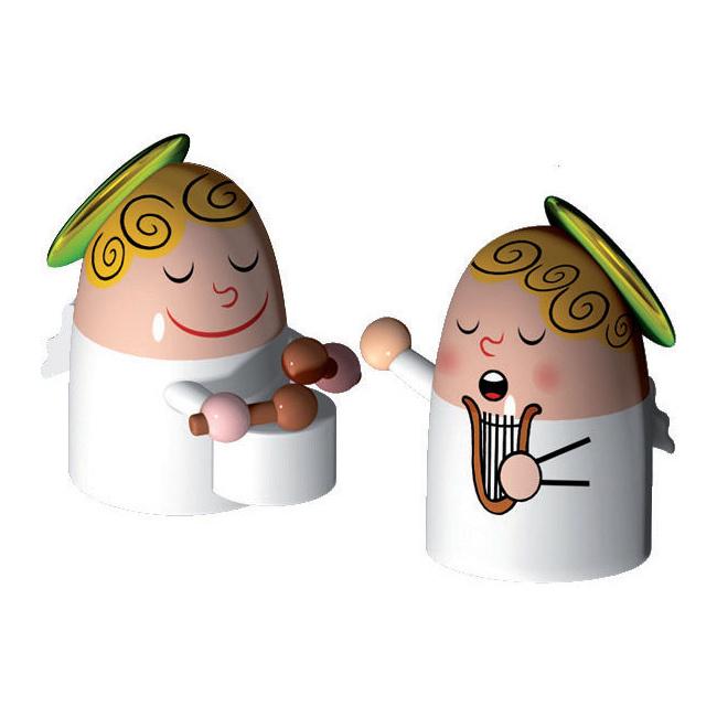 Komplet 2 figurek - aniołki z bębenkiem i harfą