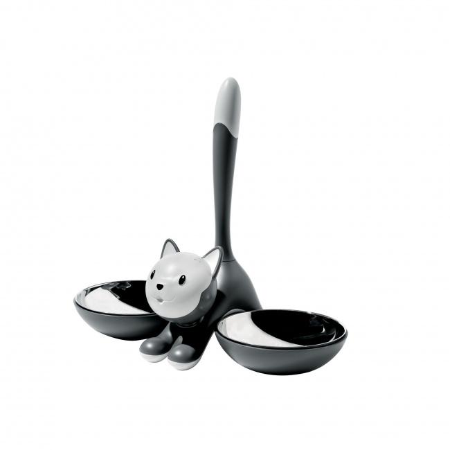 Miska dla kota Tigrito szara podwójna