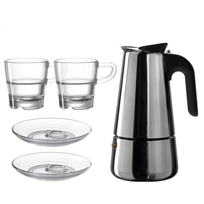 Kawiarka do espresso + 2  filiżanki ze spodkami Senso 70ml