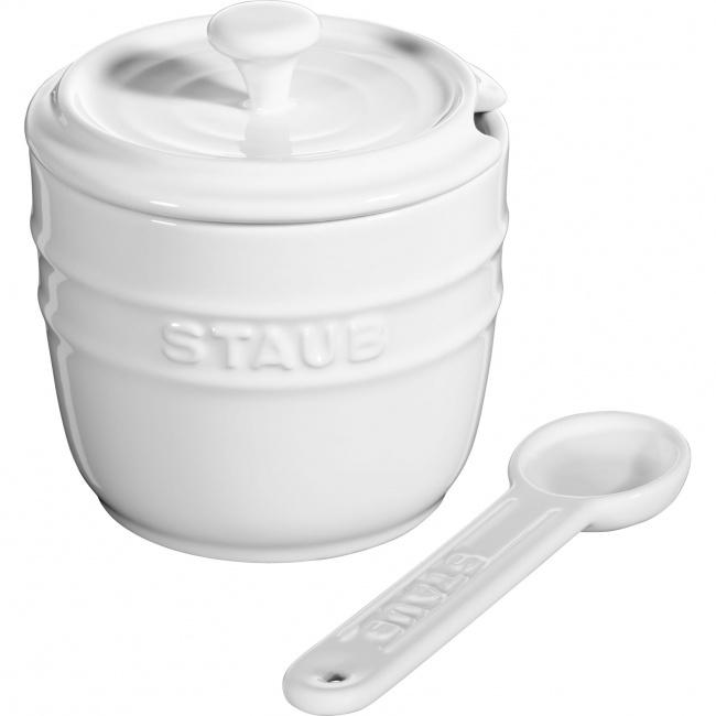 Pojemnik na sól z łyżeczką Storage 9cm biały