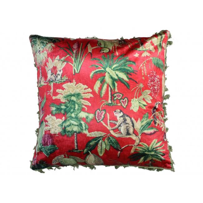 Poduszka Velvet Red Jungle