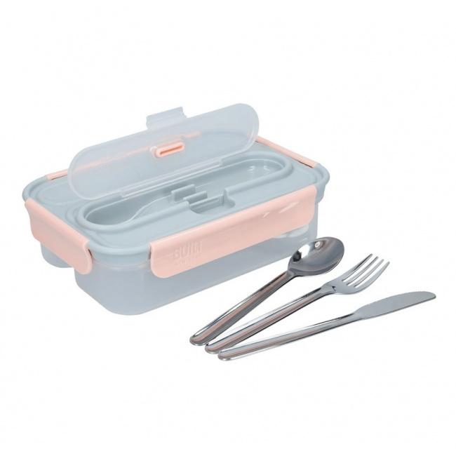 Lunchbox 1l + sztućce grey