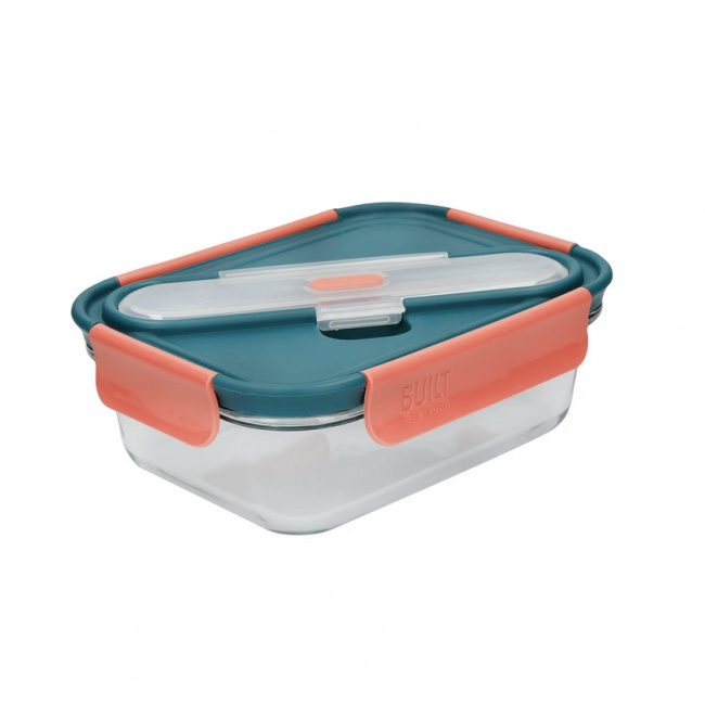 Lunchbox szklany 900ml + sztućce Tropics