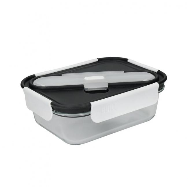Lunchbox szklany 900ml + sztućce Grey