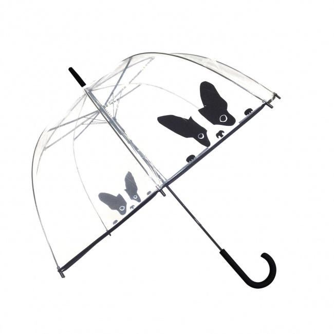 Parasol przezroczysty długi kopuła pies