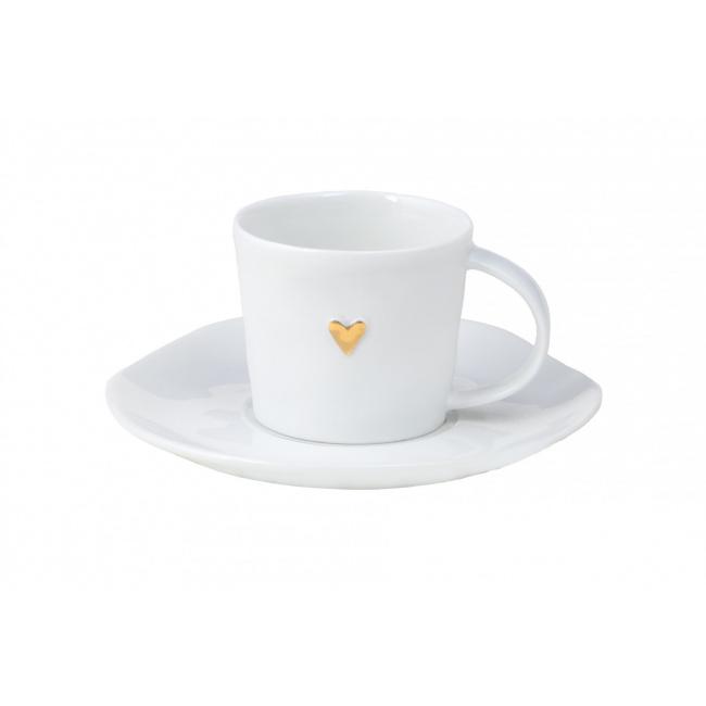 Filiżanka do espresso ze spodkiem złote serce