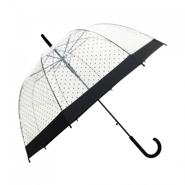 Parasol Lady długi przezroczysty w kropki
