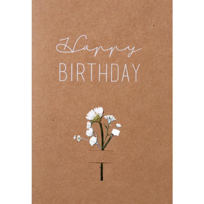 Kartka Happy Birthday suszone kwiaty