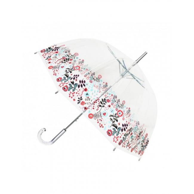 Parasol długi przezroczysty kopuła kwiaty