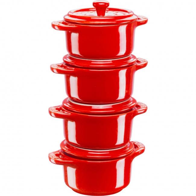 Komplet 4 garnków Mini Cocotte 10cm czerwony