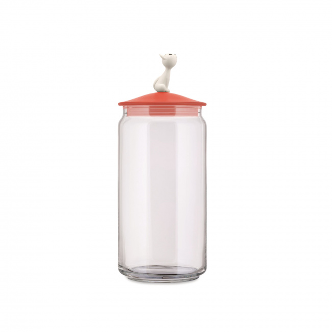 Pojemnik 1,5l na karmę dla kota czerwono-pomarańczowy