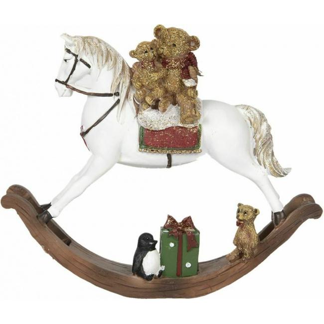 Dekoracja miś na koniu 21x5x17cm