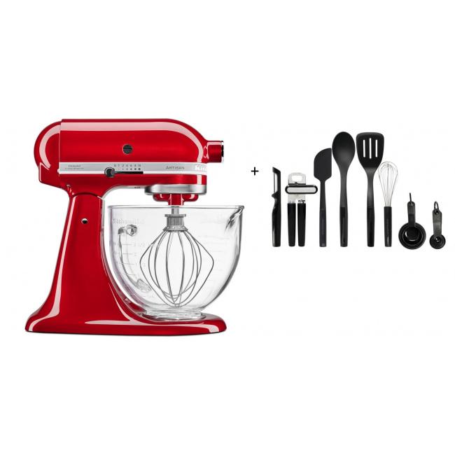Zestaw Mikser Artisan 5/156 z dzieżą szklaną + 8 akcesoriów kuchennych (15el.) UNIVERSAL