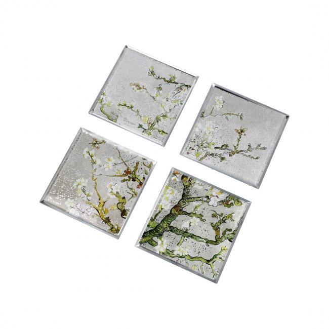 Komplet 4 podkładek 10cm Almond Tree Silver