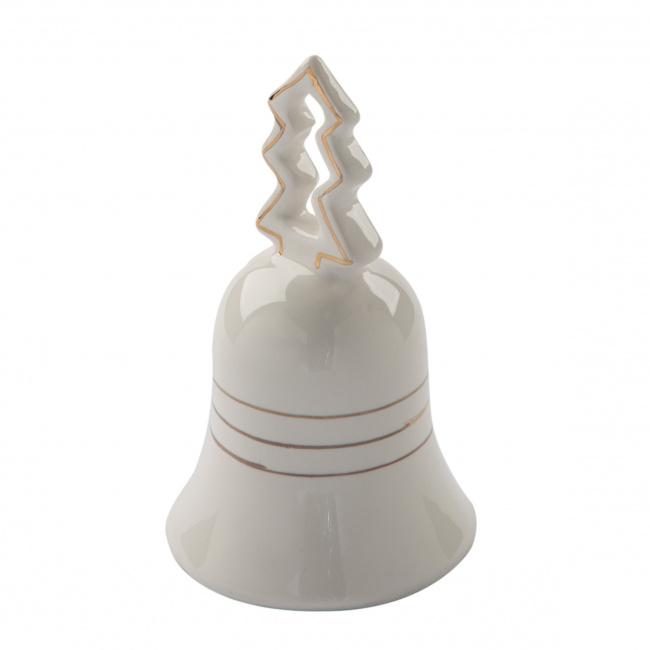 Dzwonek 10cm biało-złoty