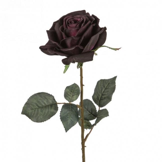 Róża 66cm fioletowo-czarna