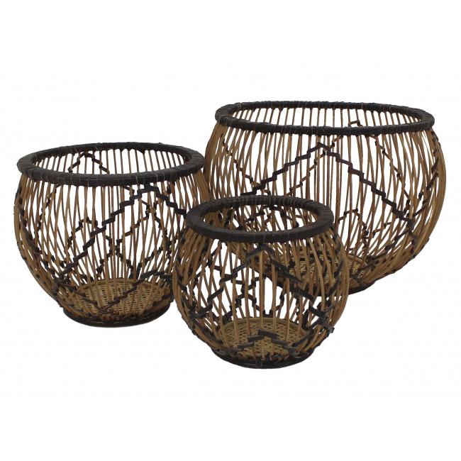 Kosz bambusowy S brązowy