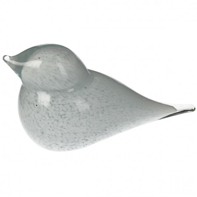Figurka szklana ptak 17x7.5x8cm biała
