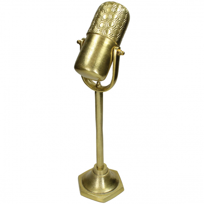 Dekoracja mikrofon na stojaku 50x17cm złota