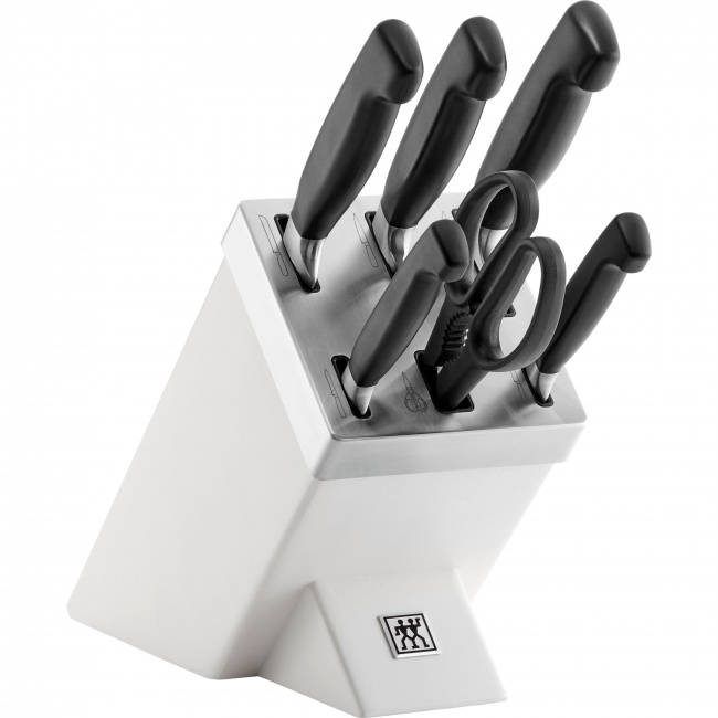 Zestaw 5 noży w samoostrzącym bloku Four Star + nożyczki
