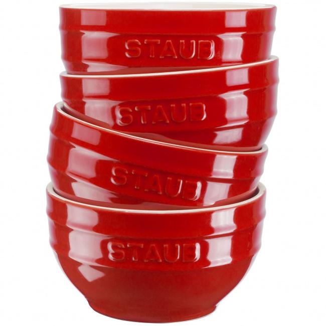 Zestaw 4 misek Serving 12cm czerwony