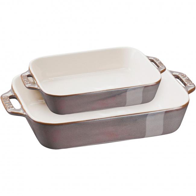 Zestaw 2 półmisków ceramicznych Cooking antyczny grafitowy
