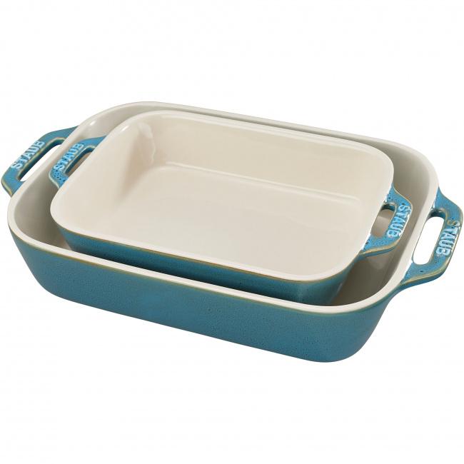 Zestaw 2 półmisków ceramicznych Cooking antyczny turkusowy