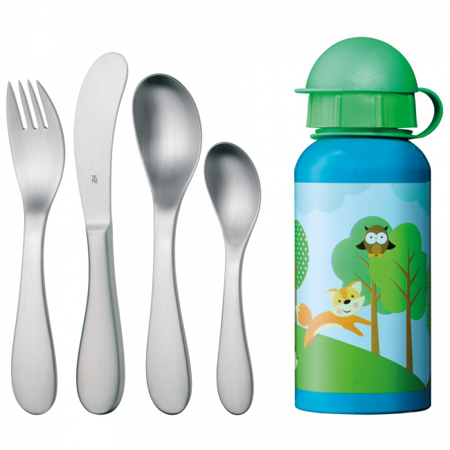 Sztućce dla dziecka + bidon 5 elementów