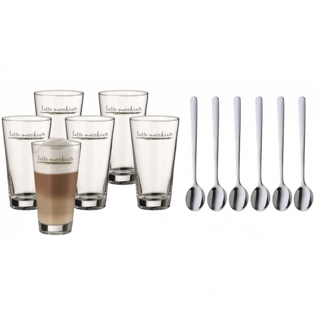 Komplet 6 szklanek 300ml do latte mlacchiato + łyżeczki