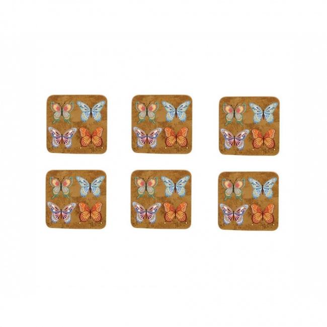 Komplet 6 podkładek pod kubki Golden Monarch